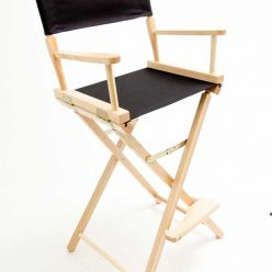 Gold Medal Directors Chair – Contemporary Natural 30″ Black Canvas
