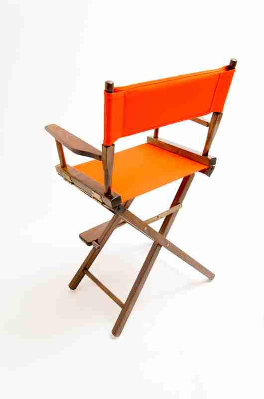 Gold Medal Directors Chair Commercial Walnut 24 Orange Canvas