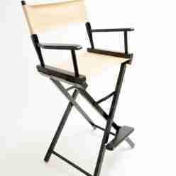 Gold Medal Directors Chair – Commercial Black 30″ Khaki Canvas