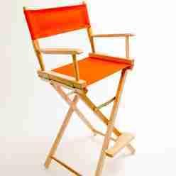 Gold Medal Directors Chair – Commercial Natural 30″ Orange Canvas
