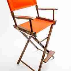 Gold Medal Directors Chair – Commercial Walnut 30″ Orange Canvas