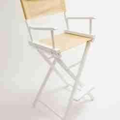 Gold Medal Directors Chair – Commercial White 30″ Khaki Canvas
