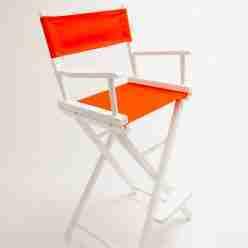 Gold Medal Directors Chair – Commercial White 30″ Orange Canvas